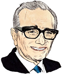Portrait drawing of an American director Martin Charles Scorsese .