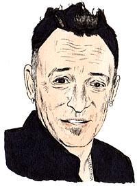 Portrait drawing of an American singer-songwriter Bruce Frederick Joseph Springsteen.