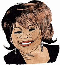 Portrait drawing of an American rhythm and blues and gospel singer Mavis Staples