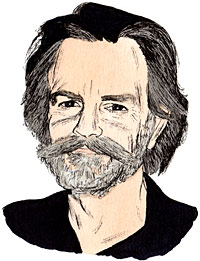 """Portrait drawing  of an American musician and songwriter Robert Hall """"Bob"""" Weir."""