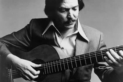 Retrato con guitarra de Antonio Carlos Jobim - Latin Jazz.