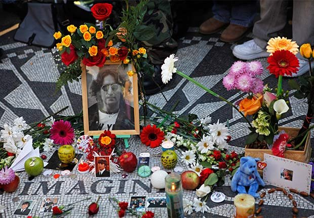 IMAGINE mosaico conmemorativo en Strawberry Fields en Central Park en Nueva York, Beatlemania