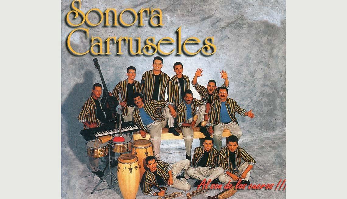Portada del disco de Sonora Carruseles, Al son de los cueros - 10 Canciones representativas del Boogaloo