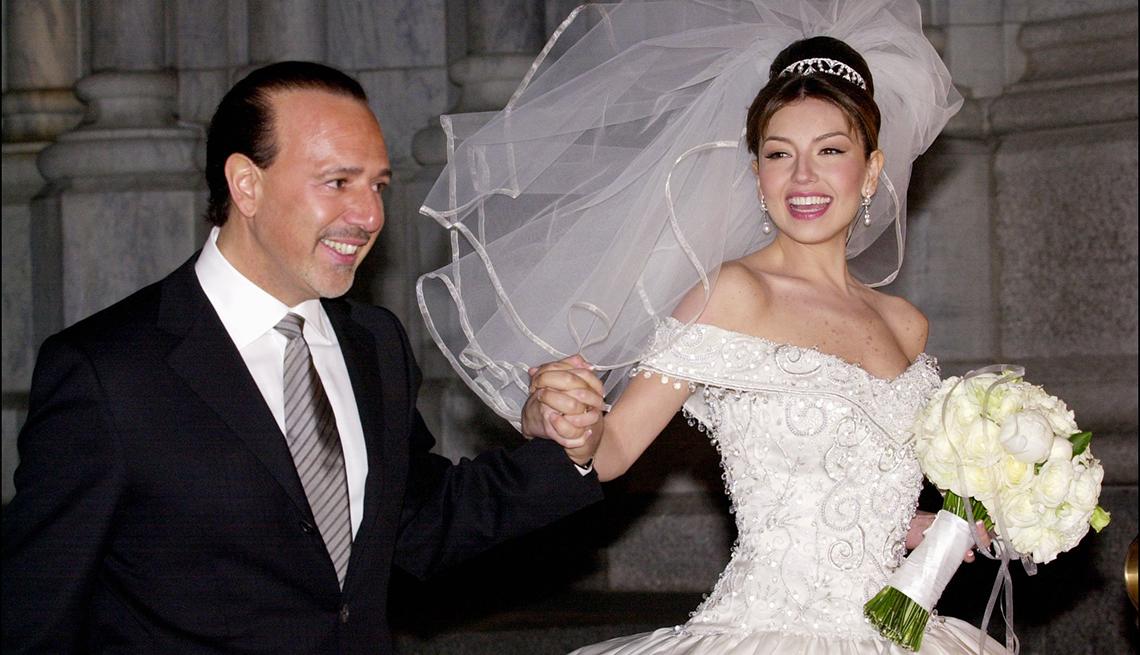 Thalía a través de los años - durante su boda con Tommy Motola