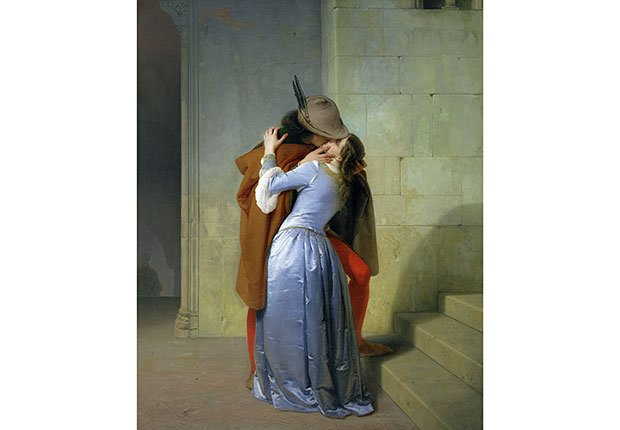Francesco Hayez: El beso - Cuadros de artistas famosos que celebran el amor