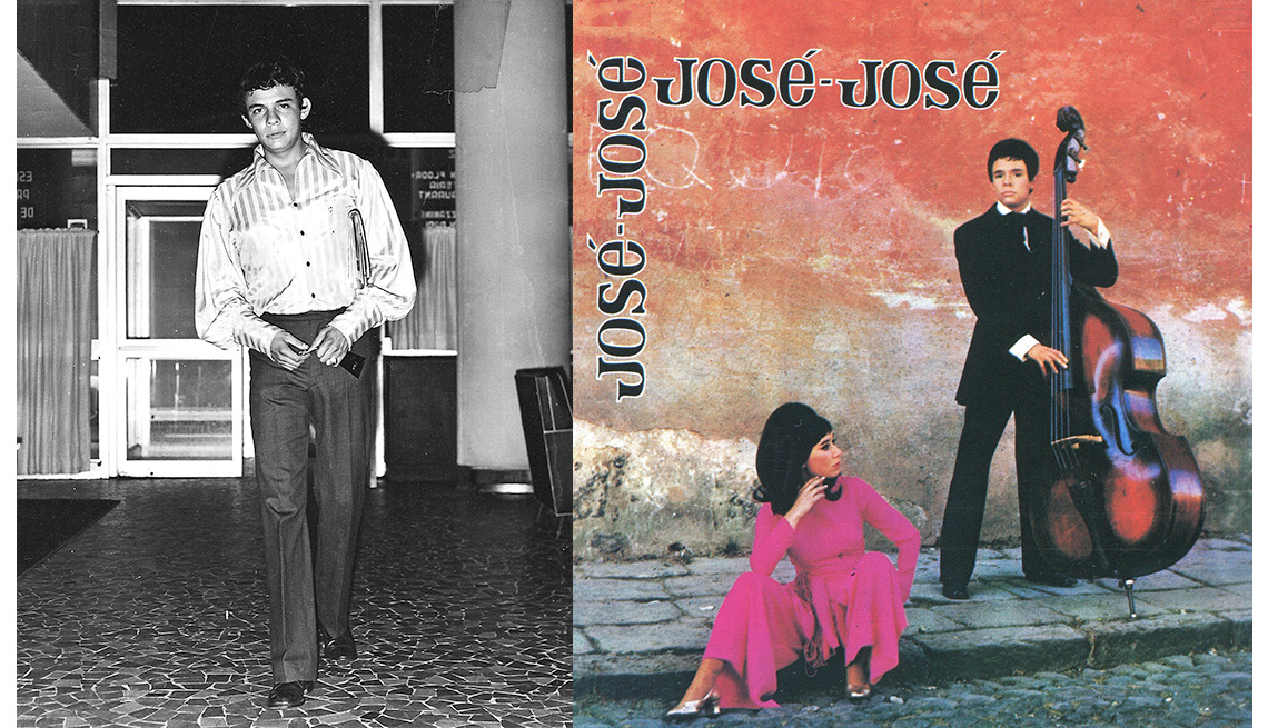 item 2 of Gallery image - José José, su carrera en fotos. A la izquierda una foto de sus iniciones. A la derecha, la portada de su disco José José