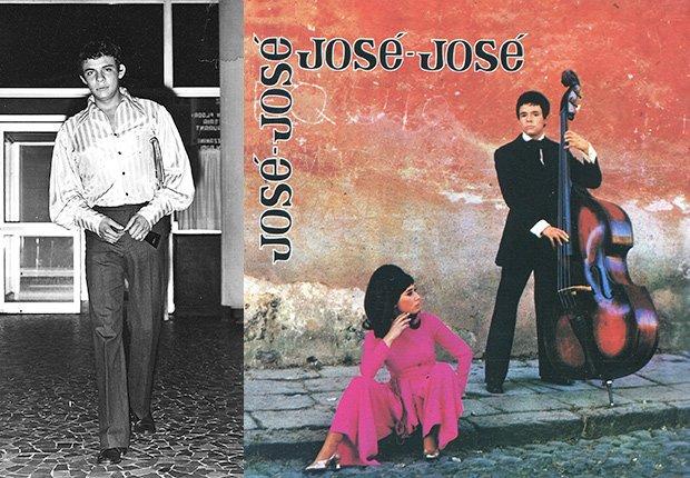 José José, su carrera en fotos. A la izquierda una foto de sus iniciones. A la derecha, la portada de su disco José José