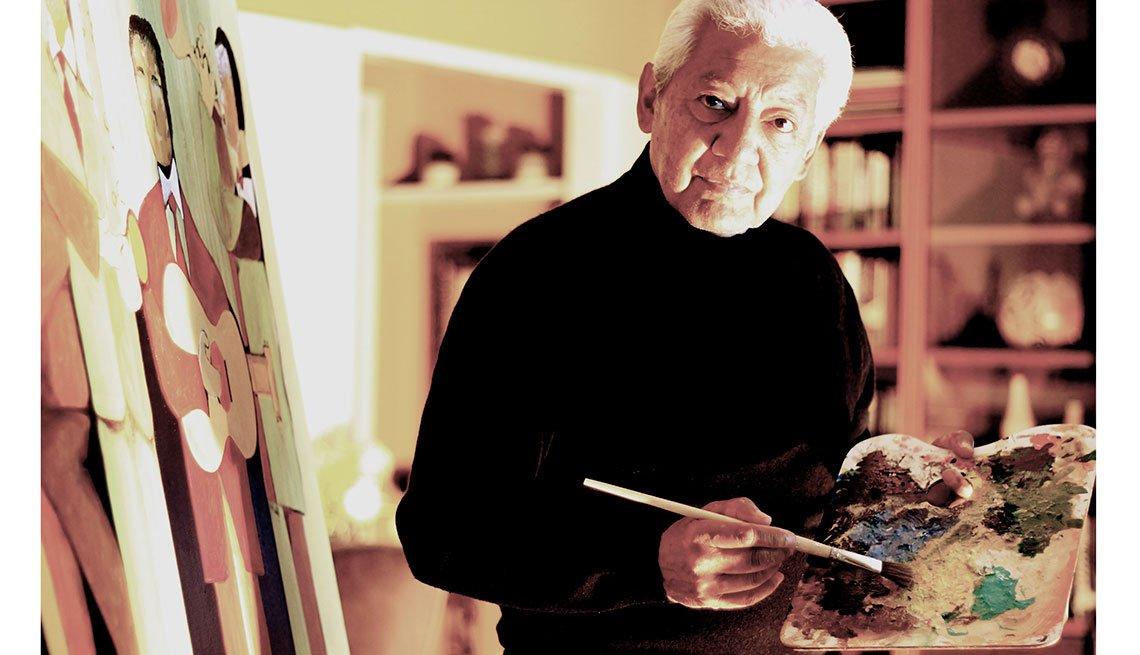 Pete Escovedo en su taller de pintura