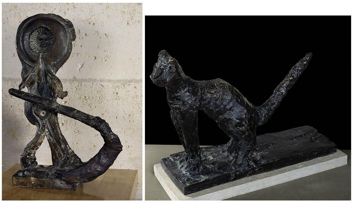 item 12, Gallery image. Esculturas 'The Reaper' (izq.) y 'Cat'.