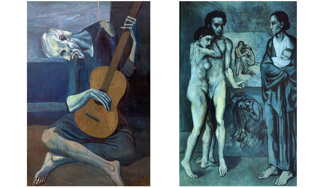 item 4, Gallery image. Dos obras del período azul, 'Viejo guitarrista ciego' (izq.) y 'La vida'.