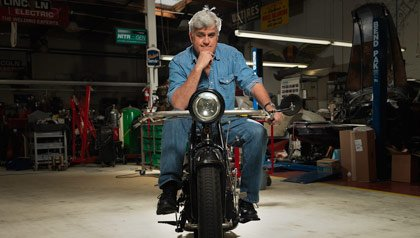 Jay Leno at his garage in Burbank, CA