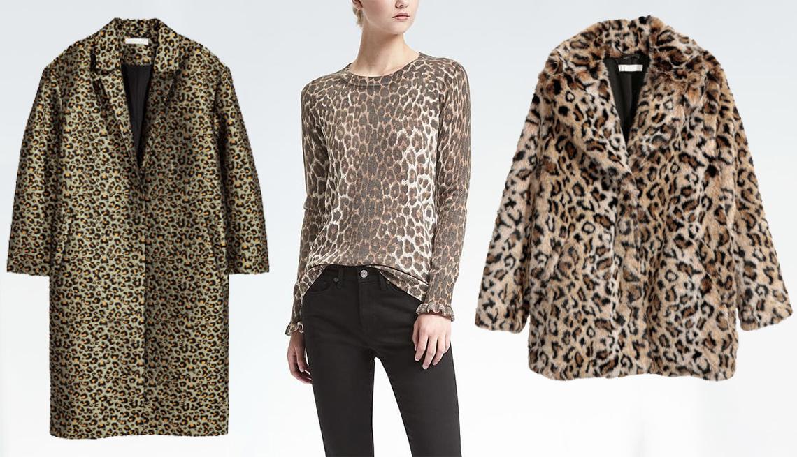 (L-R) Jacquard Weave Coat by H&M; Superloft Ruffle Cuff Crew by Banana Republic; Leopard Faux Fur Jacket by H&M.