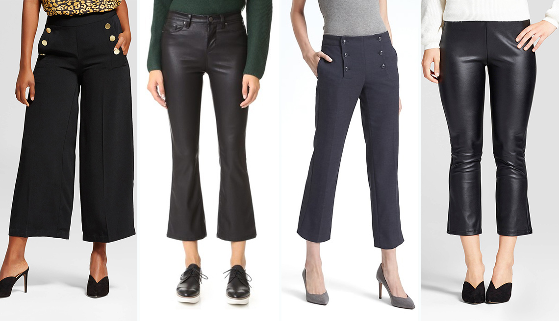 (L-R) Cropped Sailor Pants by Who What to Wear; Blank Denim Vegan Leather Crop Kick Flares by Shopbop; Logan Fit Sailor Crop by Banana Republic and Faux Leather Cropped Flares by Who What Wear.