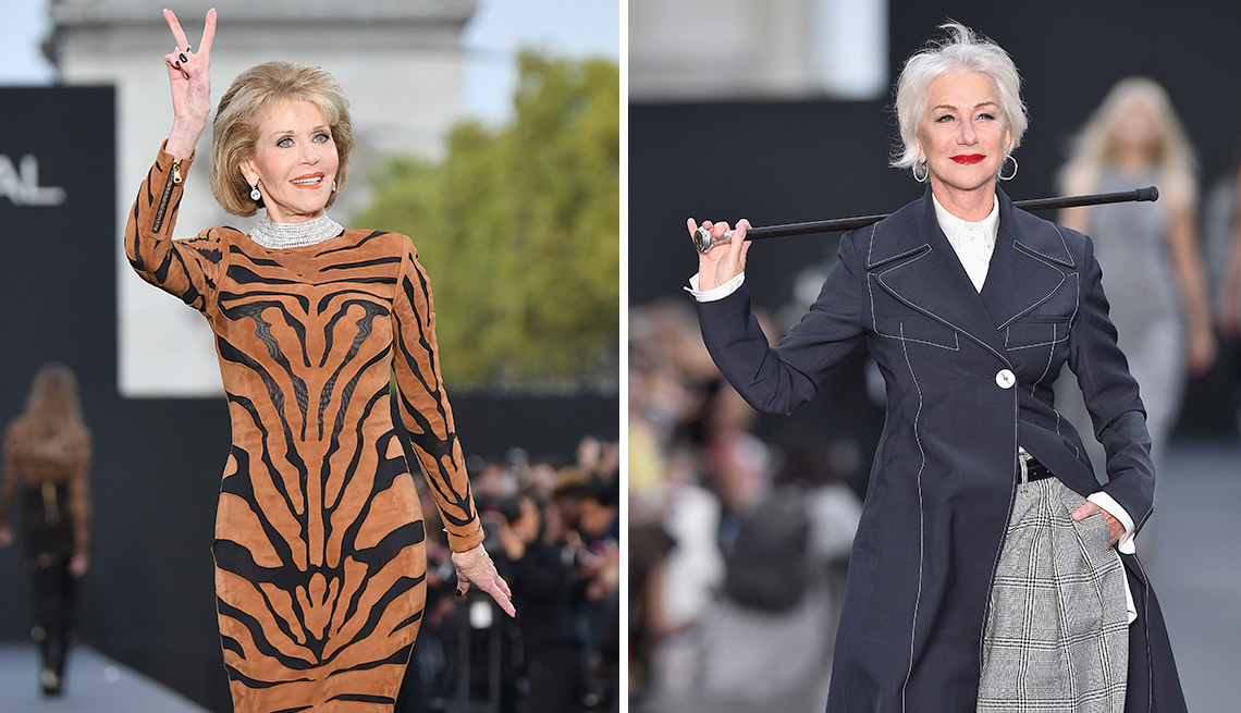 Jane Fonda and Helen Mirren walk the runway in Paris