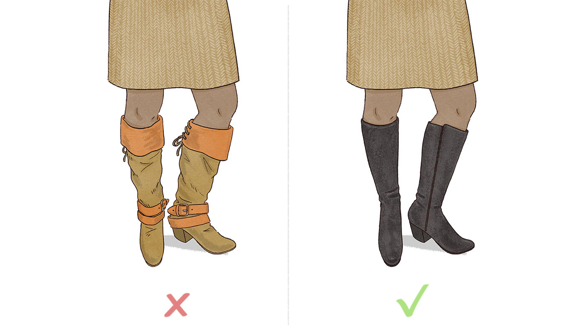 Keep knee-high boots lean, frill-free and a newsy neutral