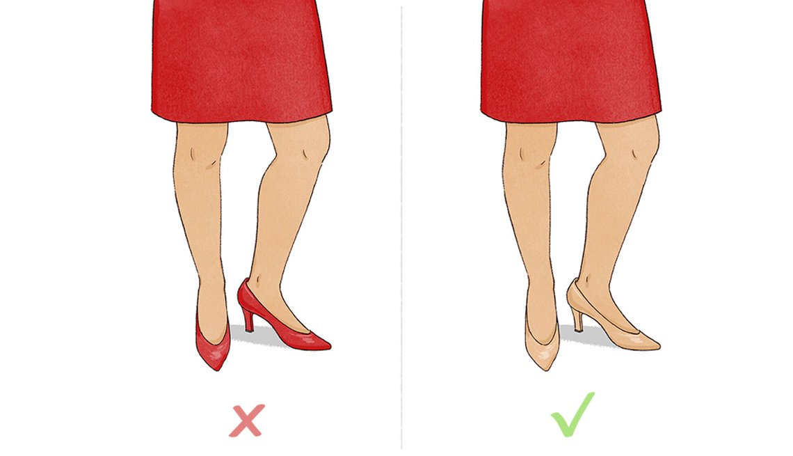Color matched skin tone and shoes makes longer, slimmer legs