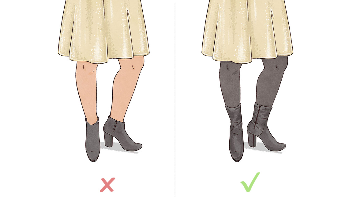 Pair higher clingy ankle booties with skirts