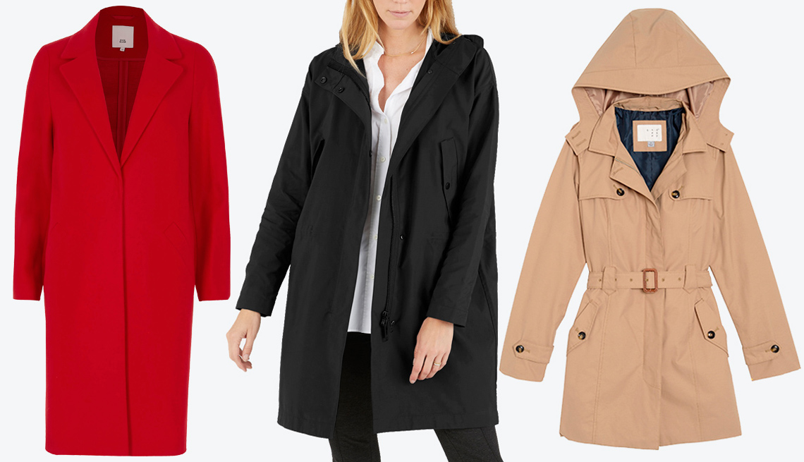 River Island Red Tailored Coat, Everlane's City Anorak, Women's Hooded Trench Coat- A New Day