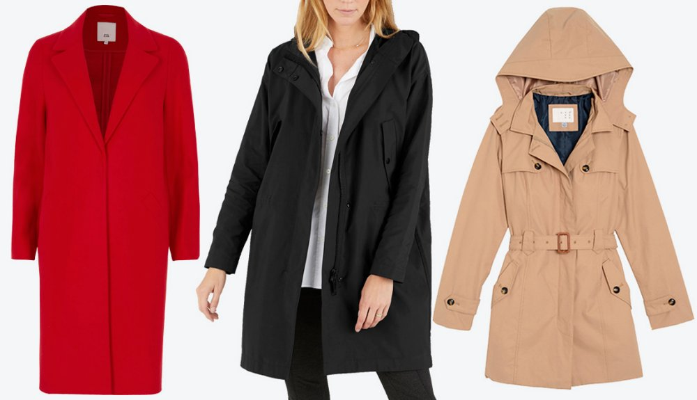 River Island Red Tailored Coat, Everlaneu0027s City Anorak, Womenu0027s Hooded  Trench Coat  A