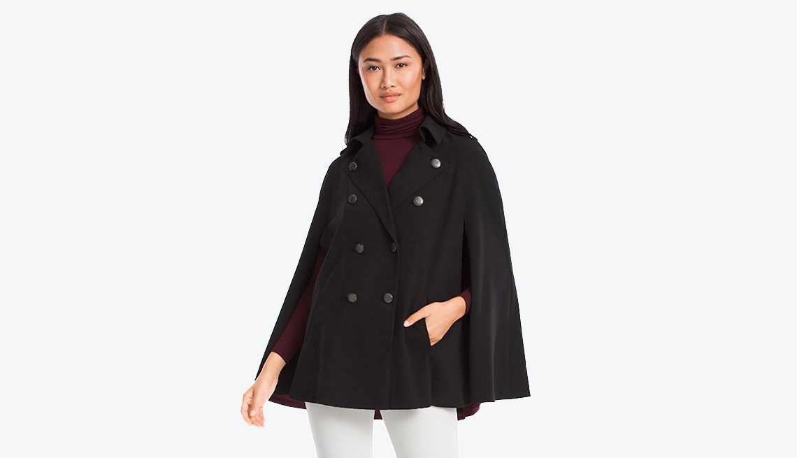 White House Black Market Double Breasted Cape