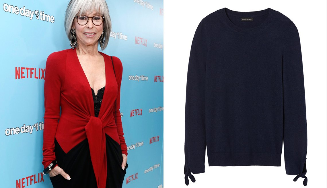 "item 8, Gallery image. Actress Rita Moreno wearing a cashmere sweater at the Netflix ""One Day at a Time"" premiere in 2016."