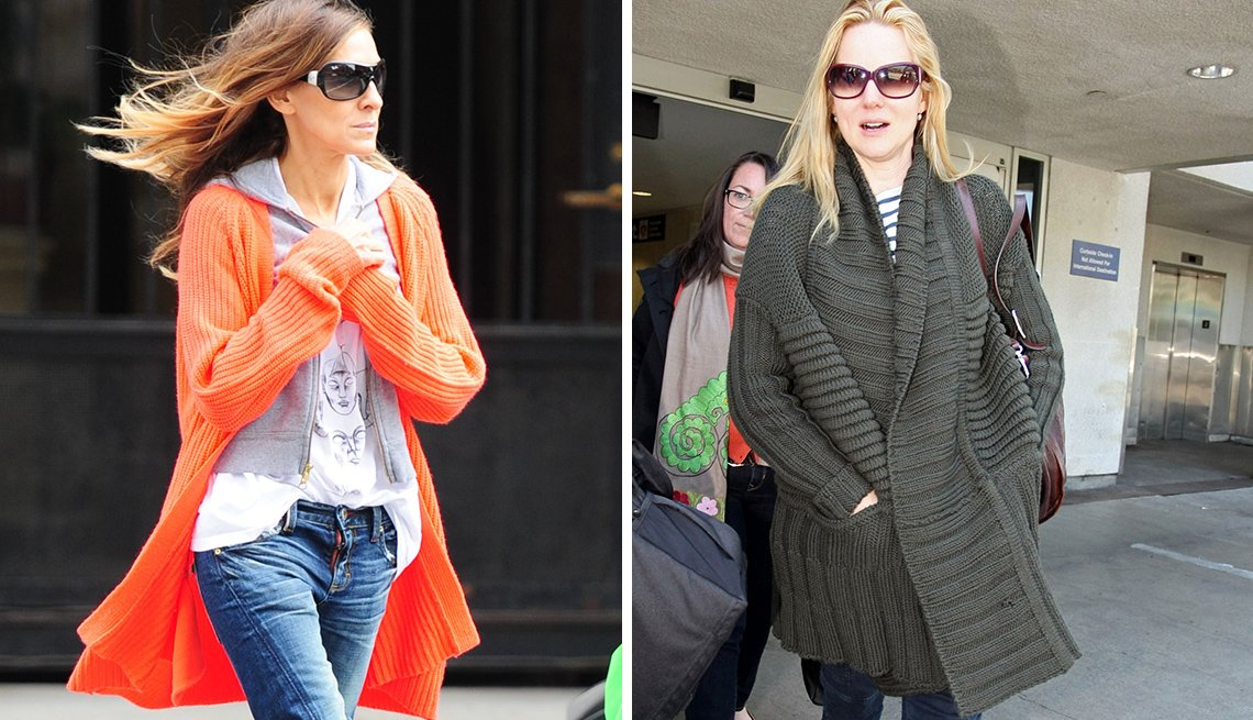 item 10, Gallery image. Sarah Jessica Parker, left, and Laura Linney, right, sport oversize cocoon cardigans.