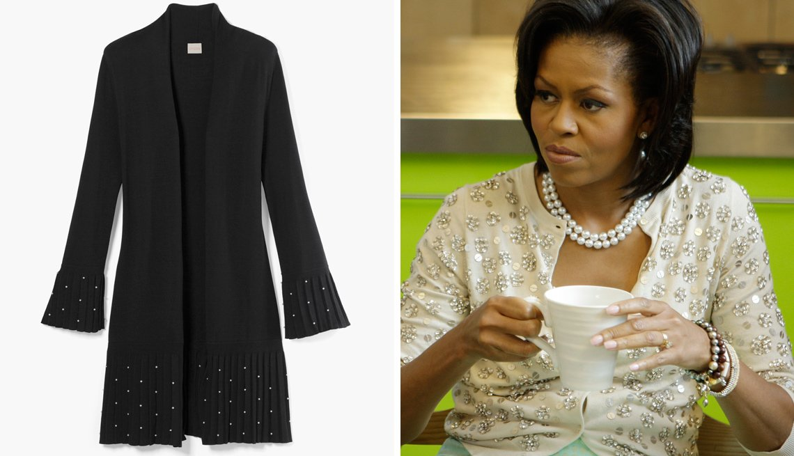 item 9 of Gallery image - Chico's Pleated Faux Pearl Cardigan, left, and former first lady, Michelle Obama wearing a sparkly embellished, cardigan, right.