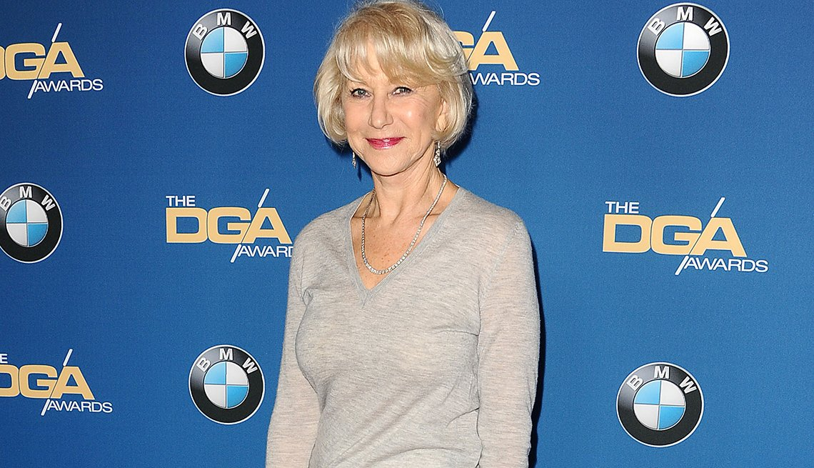 item 2, Gallery image. Actress Helen Mirren wearing a V-neck pullover at the 69th annual Directors Guild of America Awards in 2017.