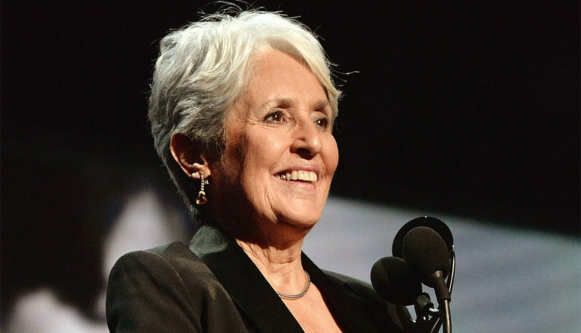 item 3, Gallery image. Joan Baez speaks onstage during the 32nd Annual Rock & Roll Hall of Fame induction ceremony.