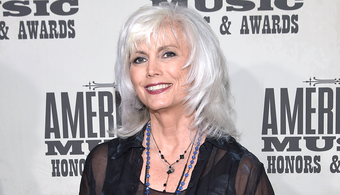 item 8 of Gallery image - Emmylou Harris in layered gray hairstyle