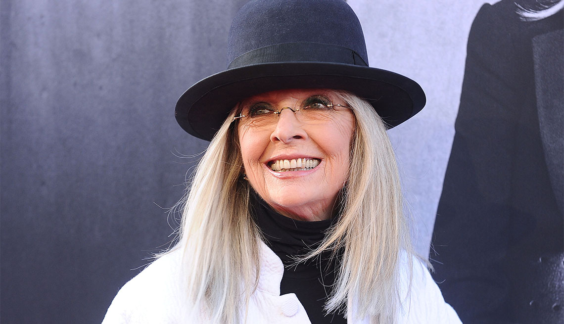 item 4 of Gallery image - Diane Keaton long gray hair with hat