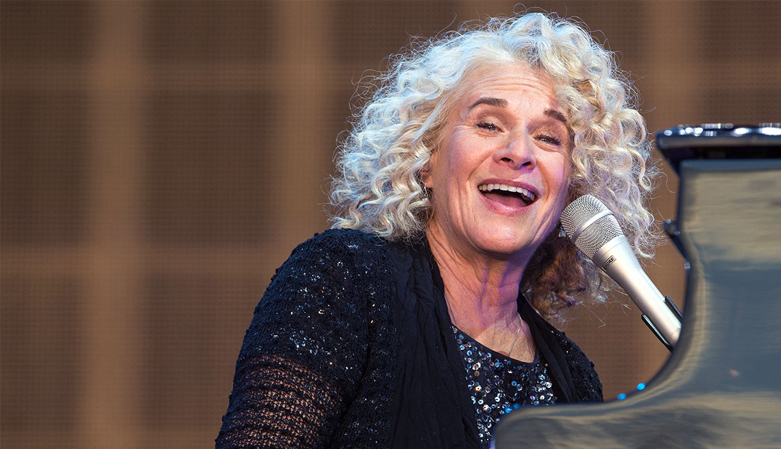 item 9 of Gallery image - Carole King curly shoulder length gray hair