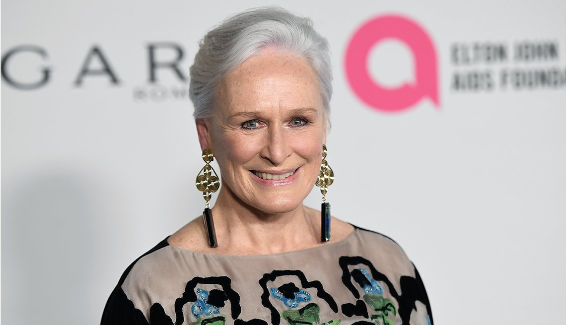 item 1, Gallery image. Glenn Close attends an Elton John AIDS Foundation event.