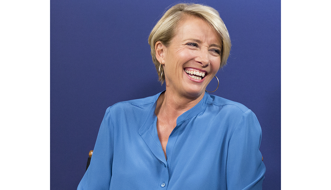 item 3 of Gallery image - actress emma thompson wearing blue shirt and laughing