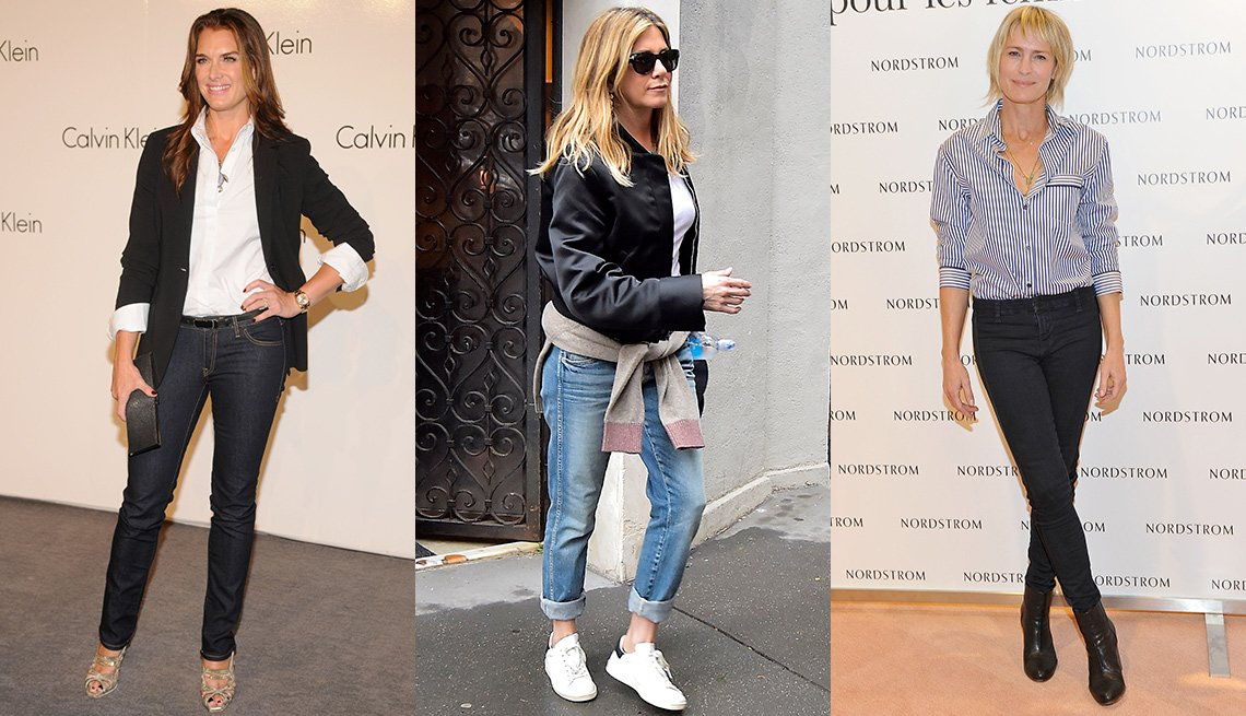 Brooke Shields, Jennifer Aniston, y Robin Wright usando jeans