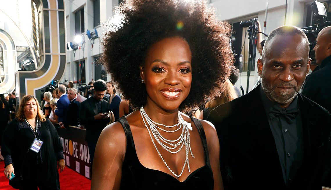actress viola davis and actor julius tennon on the red carpet