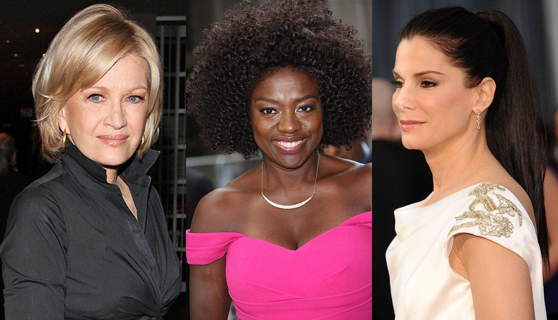 Diane Sawyer, Viola Davis y Sandra Bullock enseñando sus cortes de cabello