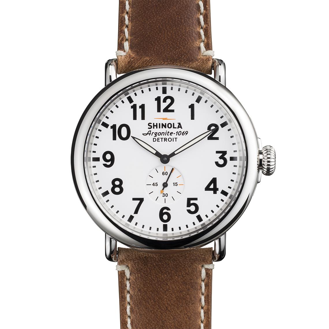 Shinola casual analog watch with stylish leather band