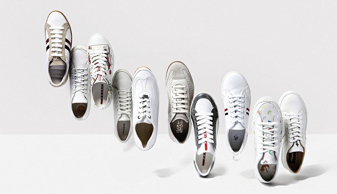 A collection of stylish white sneakers for casual male style