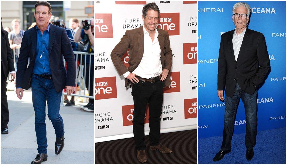 Dennis Quaid, Hugh Grant, Ted Danson con chaquetas deportivas y jenas ajustados