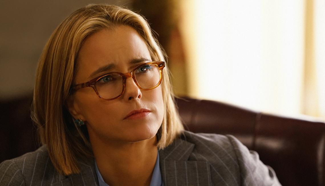 "Téa Leoni has thin hair in a scene from ""Madam Secretary."""