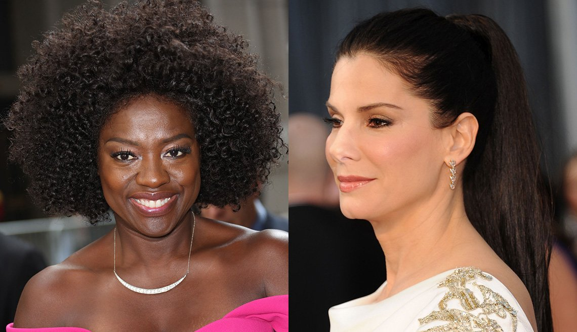 Side-by-side photo of Viola Davis and Sandra Bullock