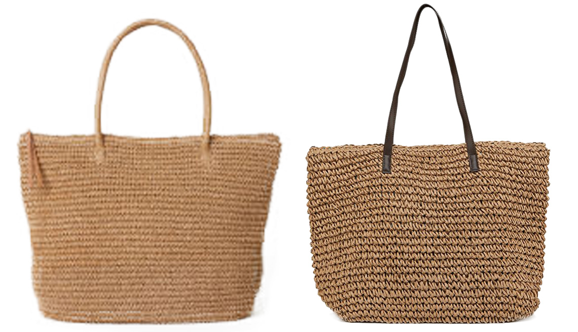 Two side-by-side tan bags