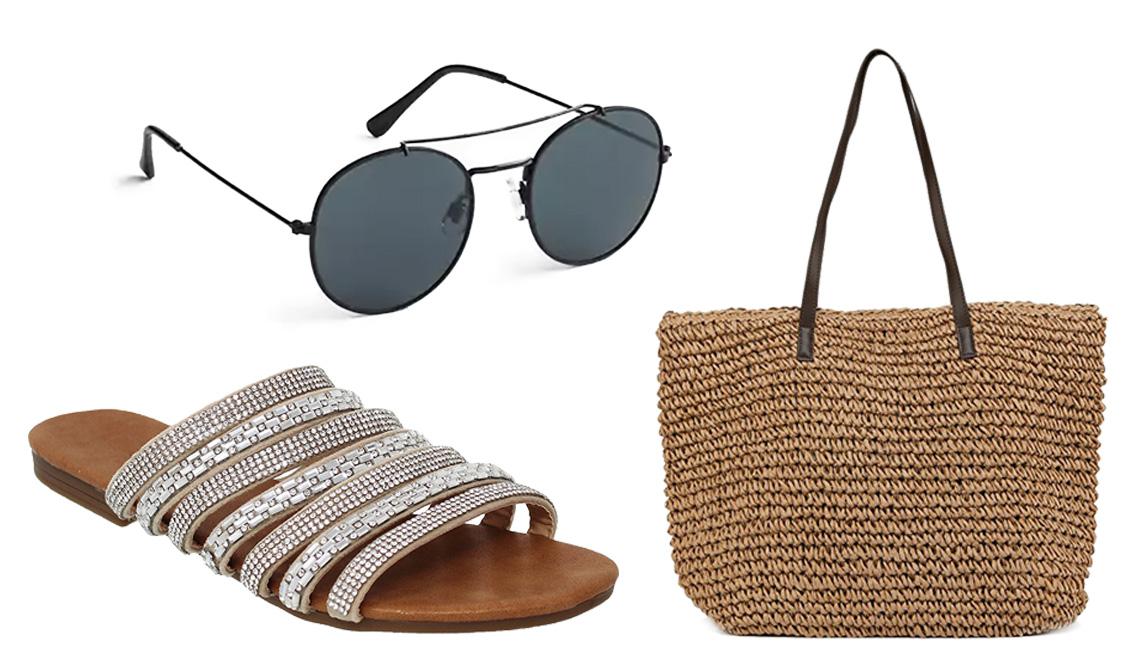 A sandal, sunglasses, summer bag.