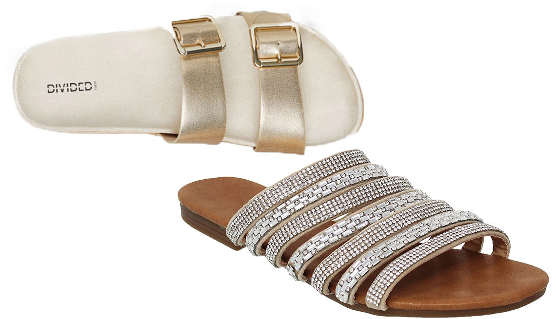 Two sandals, one dressy, one casual.