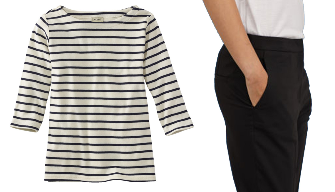 A striped shirt and black pants, side-by-side.