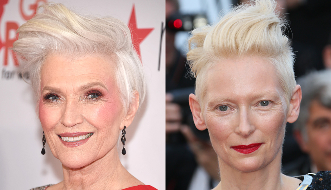 item 1 of Gallery image - Maye Musk and Tilda Swinton with an undercut style.