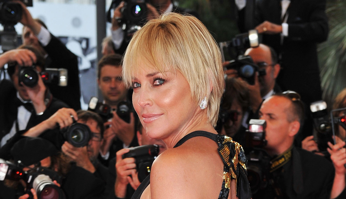 item 13 of Gallery image - Sharon Stone with a chiseled bob style.