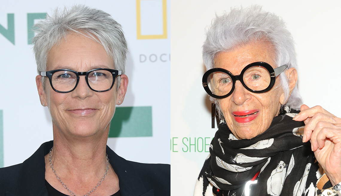 item 5 of Gallery image - Jamie Lee Curtis and Iris Apfe with the spiky pixie style.