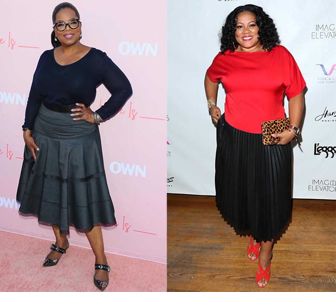 Oprah Winfrey and Lela Rochon wearing below the knee skirts.